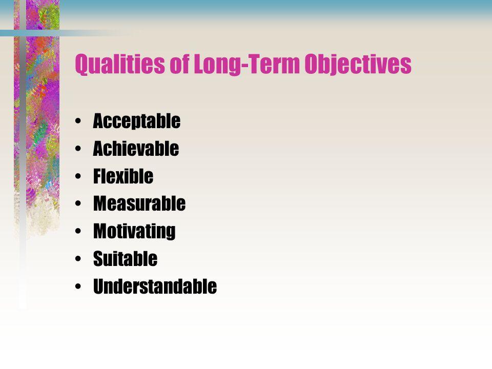 Qualities of Long-Term Objectives Acceptable Achievable Flexible Measurable Motivating Suitable Understandable