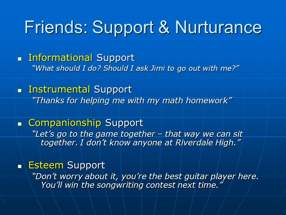 "Friends: Support & Nurturance Informational Support Informational Support ""What should I do? Should I ask Jimi to go out with me?"" Instrumental Suppor"