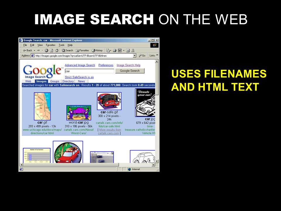 IMAGE SEARCH ON THE WEB USES FILENAMES AND HTML TEXT