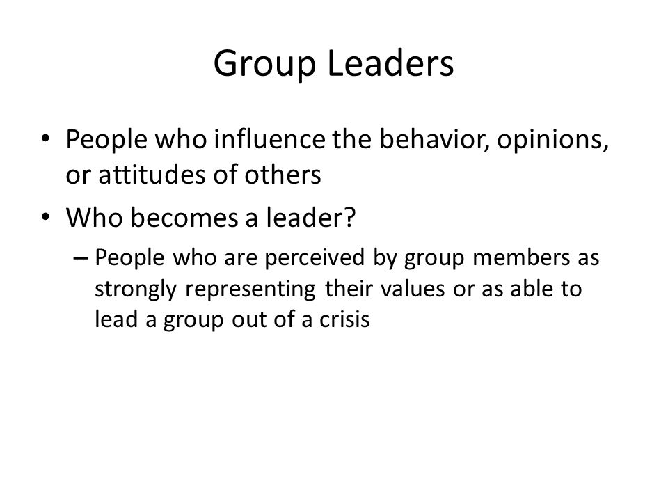 Group Leaders People who influence the behavior, opinions, or attitudes of others Who becomes a leader? – People who are perceived by group members as