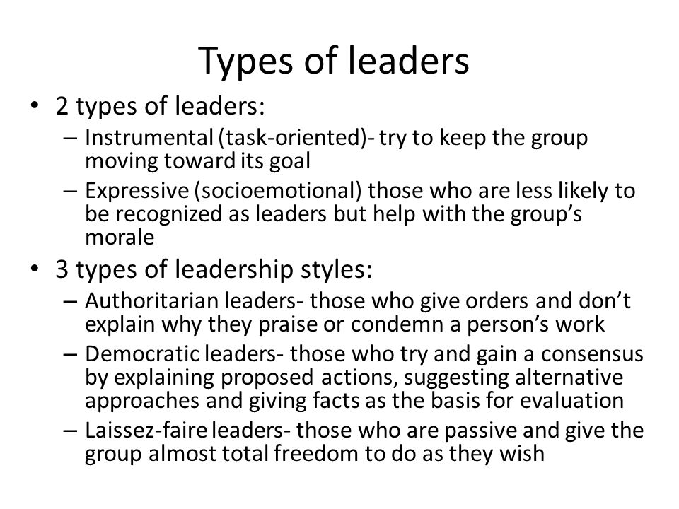 Types of leaders 2 types of leaders: – Instrumental (task-oriented)- try to keep the group moving toward its goal – Expressive (socioemotional) those