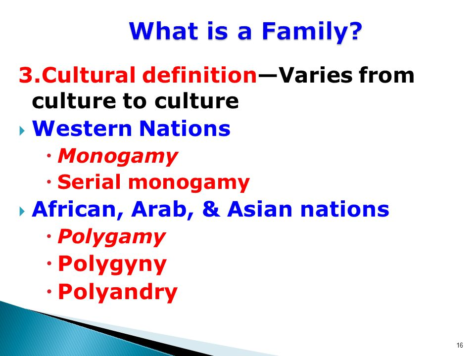 16 3.Cultural definition—Varies from culture to culture  Western Nations  Monogamy  Serial monogamy  African, Arab, & Asian nations  Polygamy  Polygyny  Polyandry What is a Family
