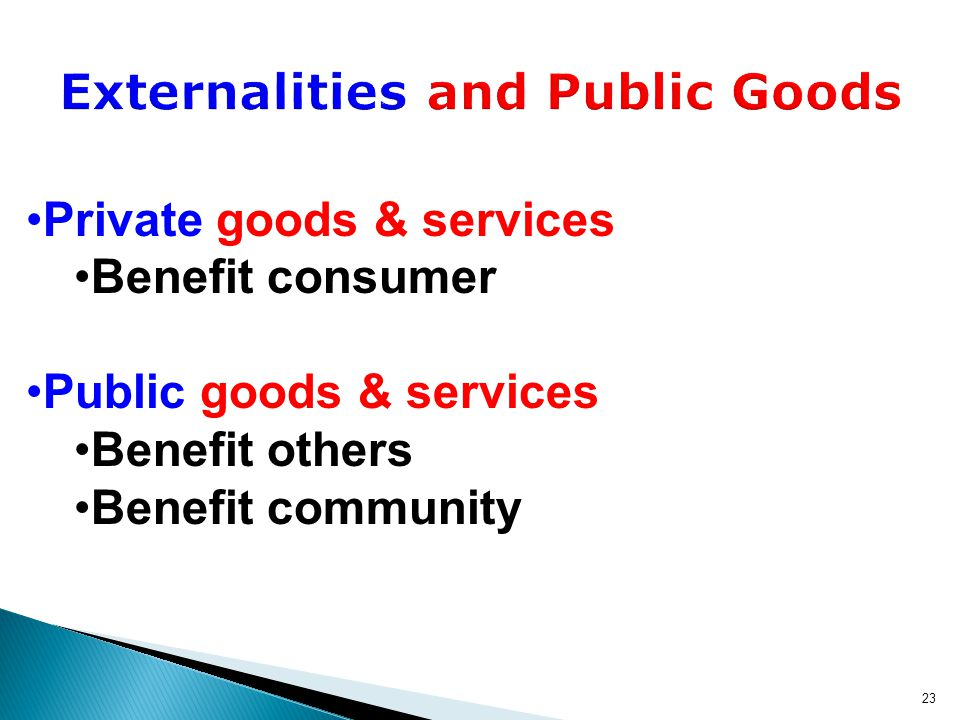 23 Private goods & services Benefit consumer Public goods & services Benefit others Benefit community