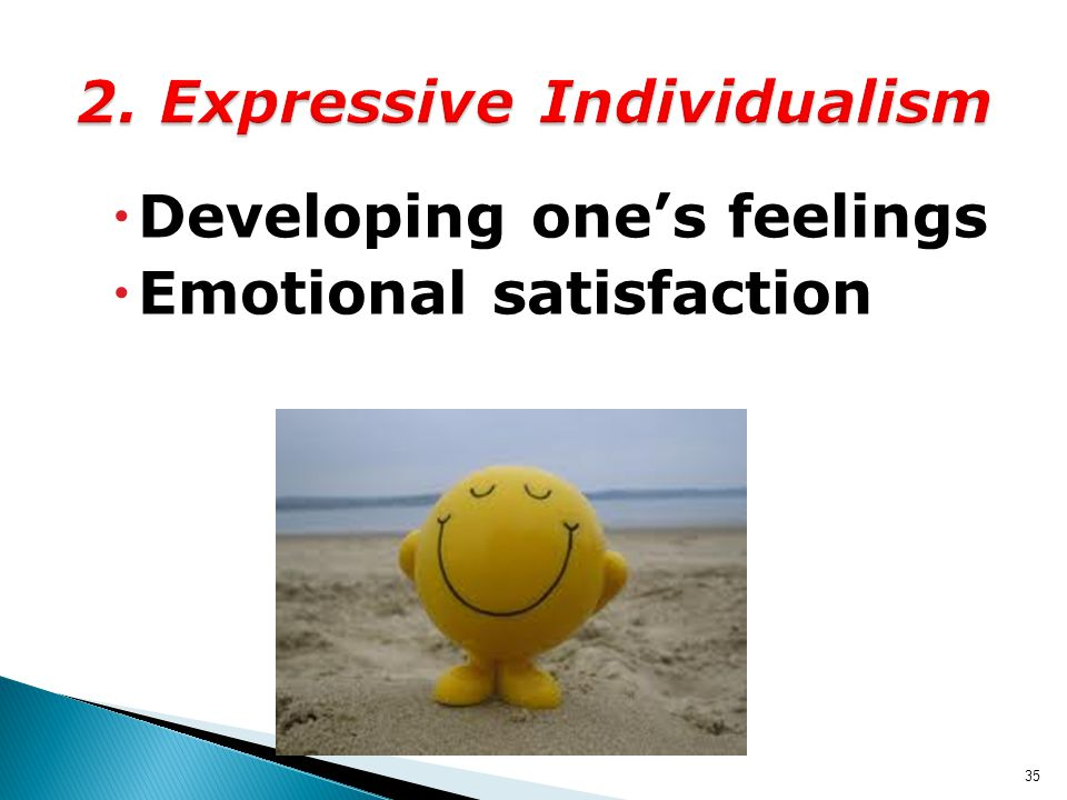  Developing one's feelings  Emotional satisfaction 35