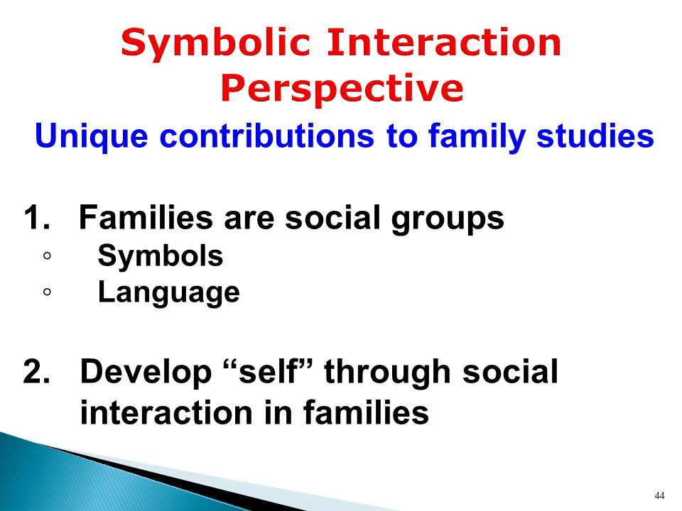 Unique contributions to family studies  Families are social groups ◦ Symbols ◦ Language 2.