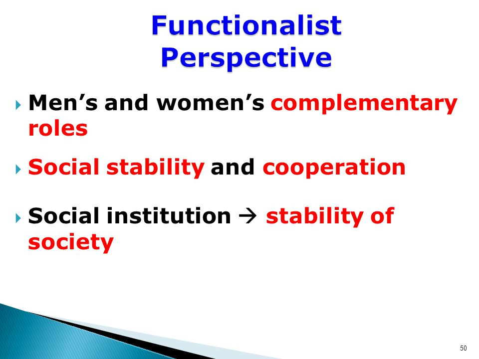  Men's and women's complementary roles  Social stability and cooperation  Social institution  stability of society 50