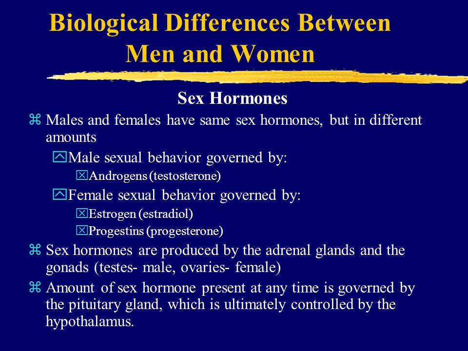 Biological Differences Between Men and Women Sex Hormones zMales and females have same sex hormones, but in different amounts yMale sexual behavior governed by: xAndrogens (testosterone) yFemale sexual behavior governed by: xEstrogen (estradiol) xProgestins (progesterone) zSex hormones are produced by the adrenal glands and the gonads (testes- male, ovaries- female) zAmount of sex hormone present at any time is governed by the pituitary gland, which is ultimately controlled by the hypothalamus.