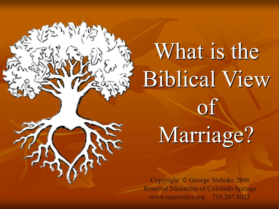 What is the Biblical View of Marriage. What is the Biblical View of Marriage.
