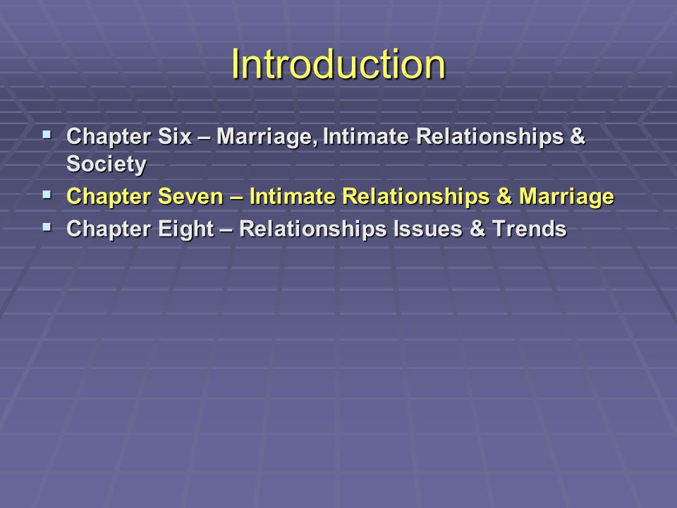 Introduction  Chapter Six – Marriage, Intimate Relationships & Society  Chapter Seven – Intimate Relationships & Marriage  Chapter Eight – Relation