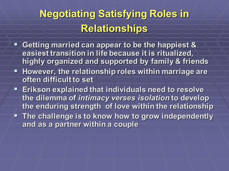 Negotiating Satisfying Roles in Relationships  Getting married can appear to be the happiest & easiest transition in life because it is ritualized, h