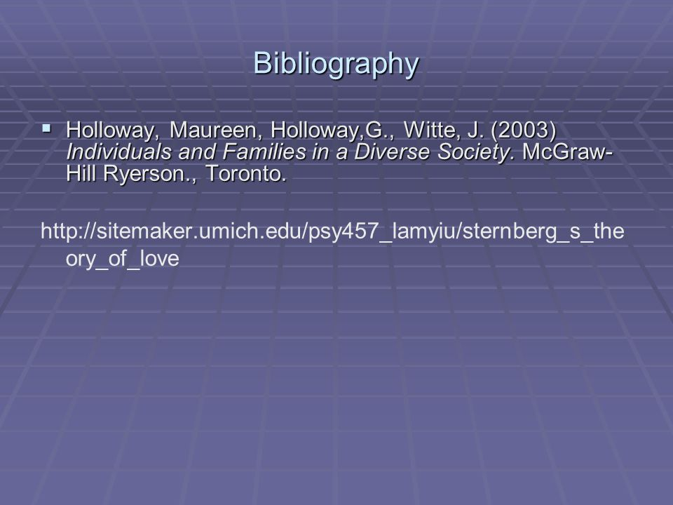 Bibliography  Holloway, Maureen, Holloway,G., Witte, J. (2003) Individuals and Families in a Diverse Society. McGraw- Hill Ryerson., Toronto. http://