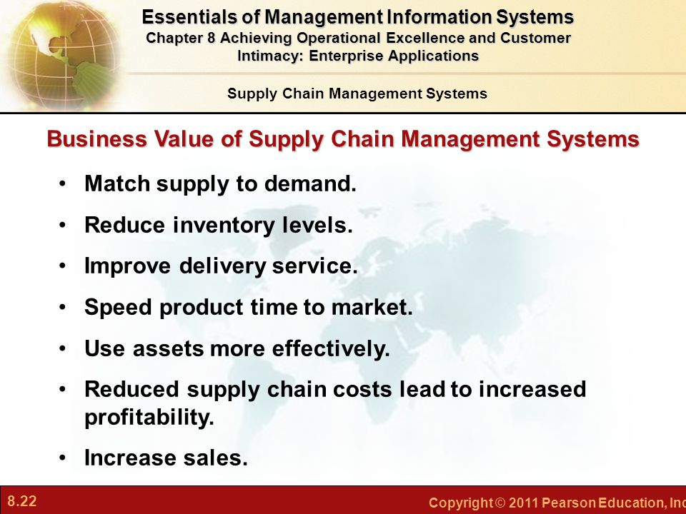8.22 Copyright © 2011 Pearson Education, Inc. Match supply to demand. Reduce inventory levels. Improve delivery service. Speed product time to market.