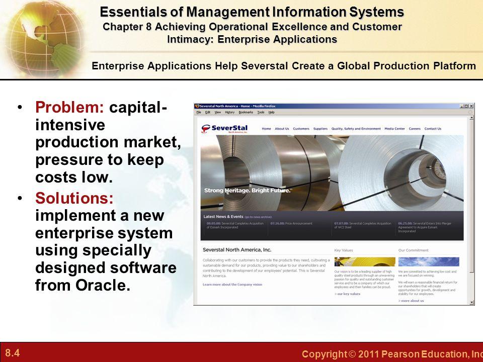 8.4 Copyright © 2011 Pearson Education, Inc. Enterprise Applications Help Severstal Create a Global Production Platform Problem: capital- intensive pr