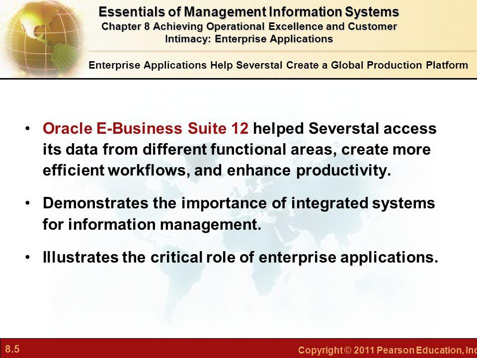 8.5 Copyright © 2011 Pearson Education, Inc. Enterprise Applications Help Severstal Create a Global Production Platform Oracle E-Business Suite 12 hel