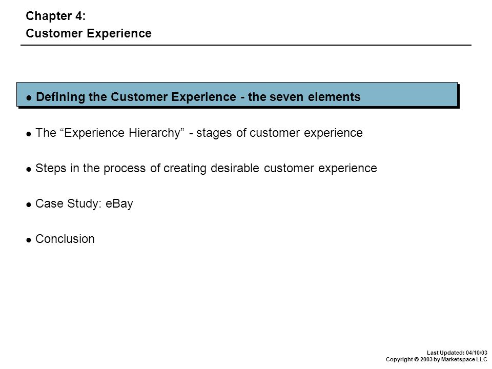 Last Updated: 04/10/03 Copyright  2003 by Marketspace LLC Defining the Customer Experience - the seven elements The Experience Hierarchy - stages of customer experience Steps in the process of creating desirable customer experience Case Study: eBay Conclusion Chapter 4: Customer Experience