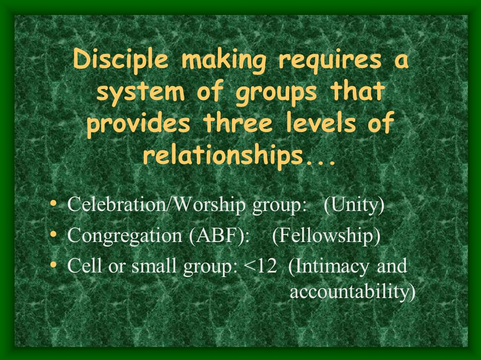 Disciple making requires a system of groups that provides three levels of relationships...