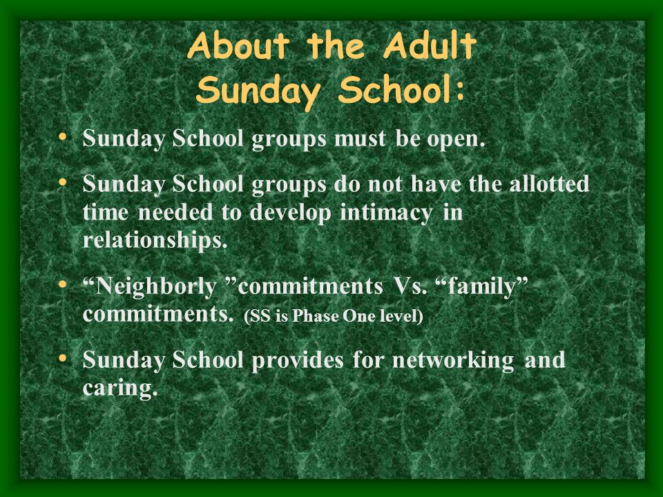 About the Adult Sunday School: Sunday School groups must be open.