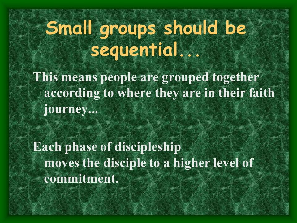 Small groups should be sequential...