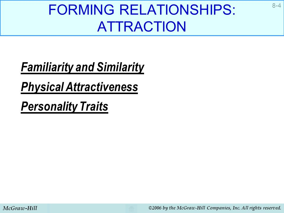 McGraw-Hill ©2006 by the McGraw-Hill Companies, Inc. All rights reserved. 8-4 FORMING RELATIONSHIPS: ATTRACTION Familiarity and Similarity Physical At