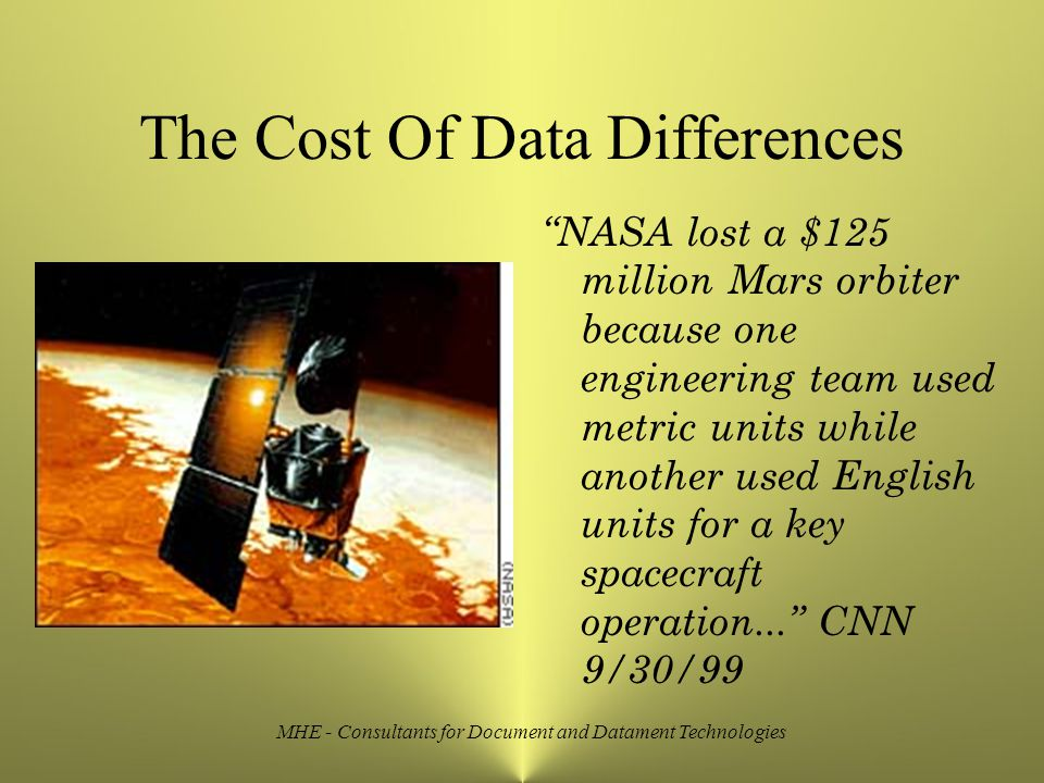 MHE - Consultants for Document and Datament Technologies The Cost Of Data Differences NASA lost a $125 million Mars orbiter because one engineering team used metric units while another used English units for a key spacecraft operation... CNN 9/30/99