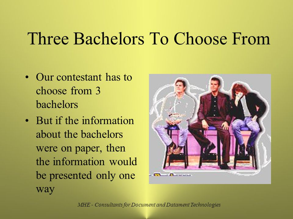 Three Bachelors To Choose From Our contestant has to choose from 3 bachelors But if the information about the bachelors were on paper, then the information would be presented only one way