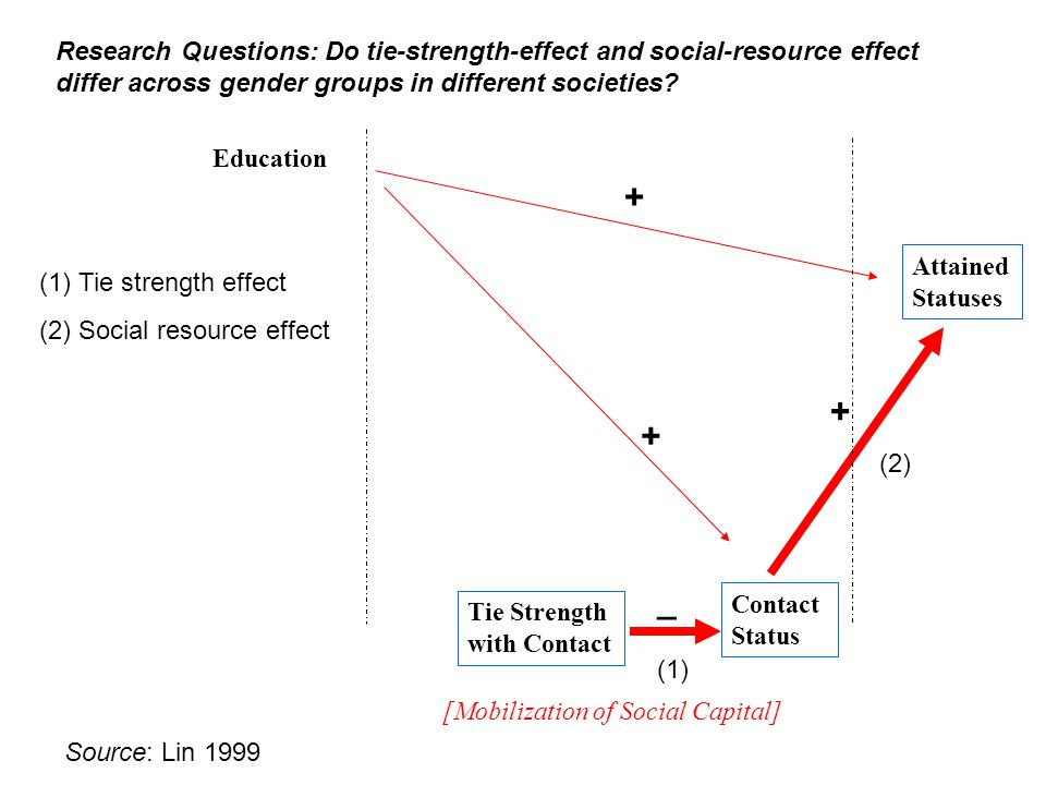 Education Tie Strength with Contact Contact Status Attained Statuses [Mobilization of Social Capital] + + + _ Research Questions: Do tie-strength-effect and social-resource effect differ across gender groups in different societies.