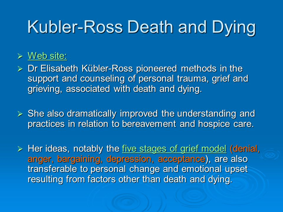 Kubler-Ross Death and Dying  Web site: Web site: Web site:  Dr Elisabeth Kübler-Ross pioneered methods in the support and counseling of personal trauma, grief and grieving, associated with death and dying.