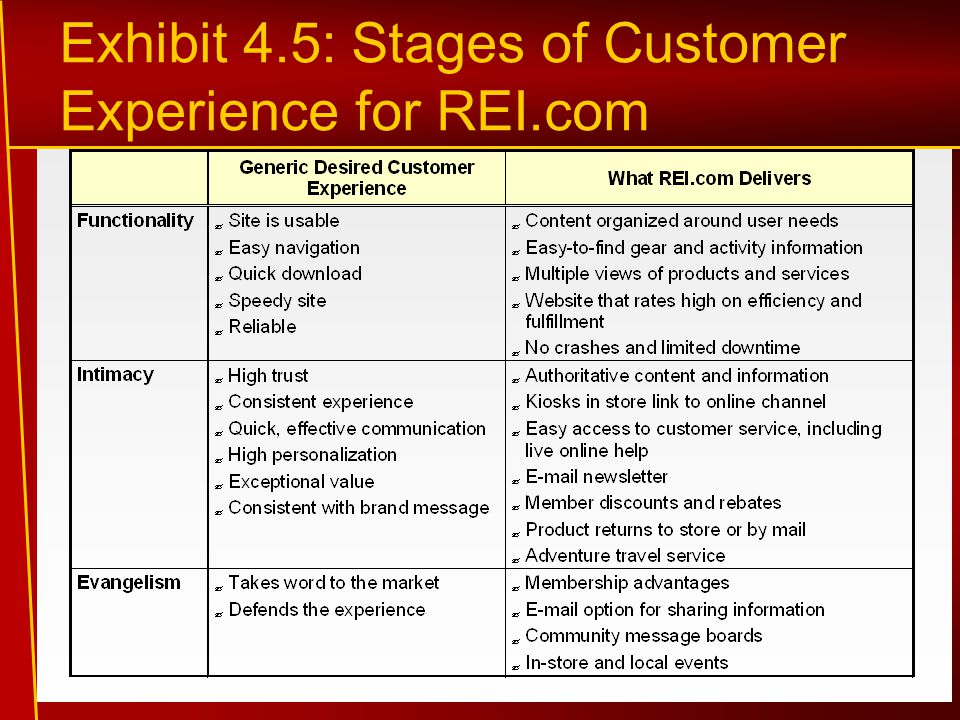 Exhibit 4.5: Stages of Customer Experience for REI.com