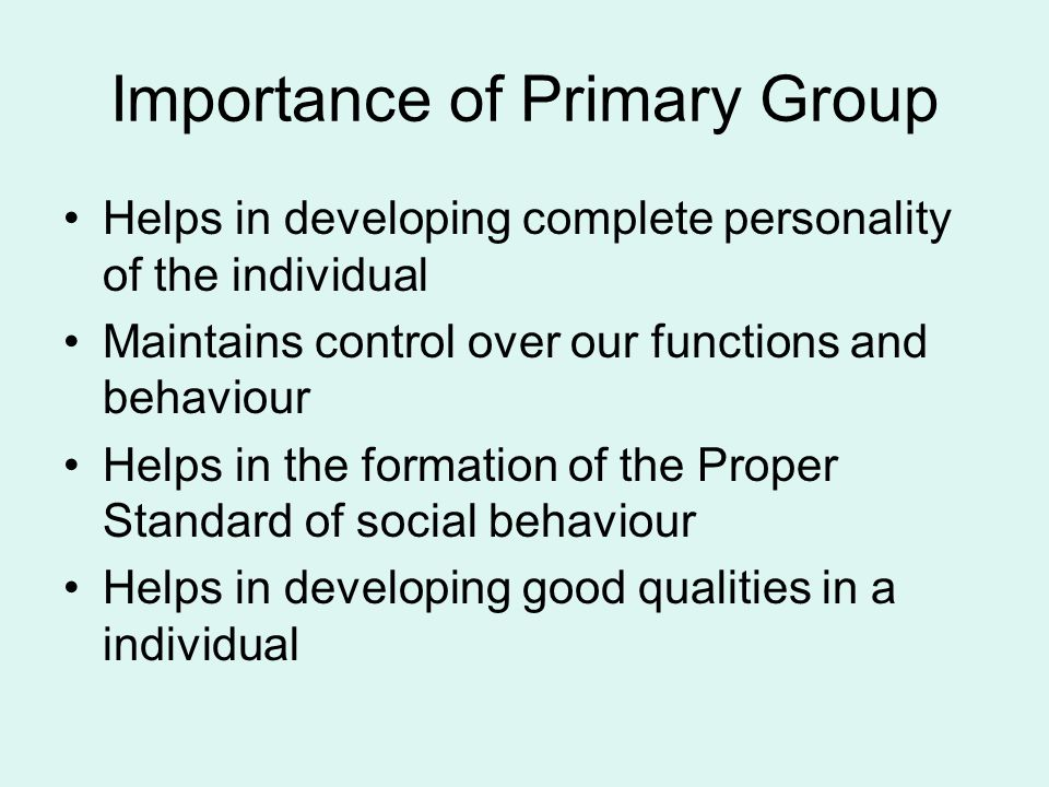 Importance of Primary Group Helps in developing complete personality of the individual Maintains control over our functions and behaviour Helps in the