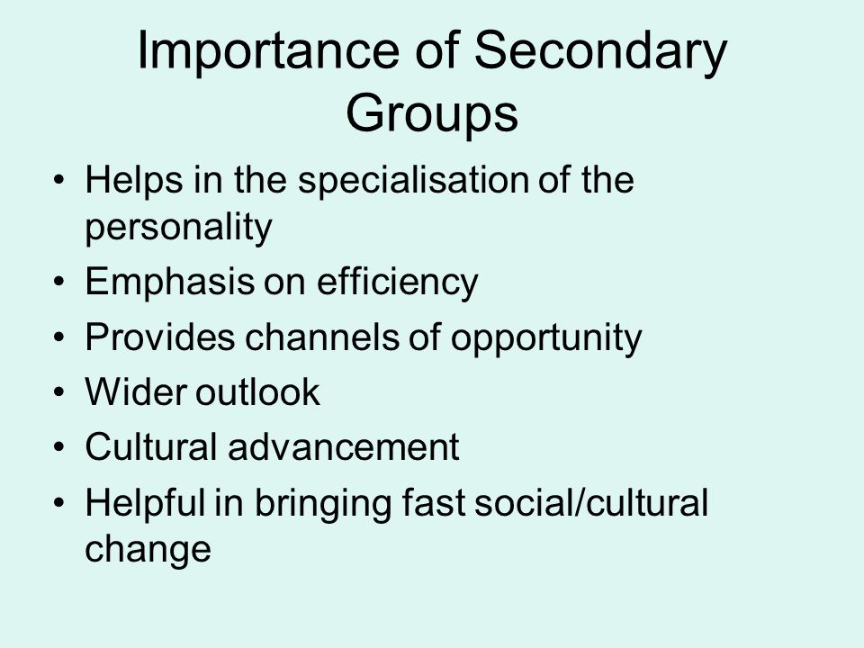Importance of Secondary Groups Helps in the specialisation of the personality Emphasis on efficiency Provides channels of opportunity Wider outlook Cu