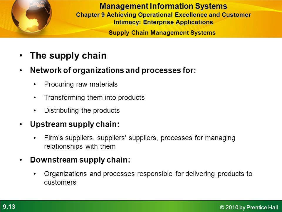 9.13 © 2010 by Prentice Hall The supply chain Network of organizations and processes for: Procuring raw materials Transforming them into products Distributing the products Upstream supply chain: Firm's suppliers, suppliers' suppliers, processes for managing relationships with them Downstream supply chain: Organizations and processes responsible for delivering products to customers Supply Chain Management Systems Management Information Systems Chapter 9 Achieving Operational Excellence and Customer Intimacy: Enterprise Applications