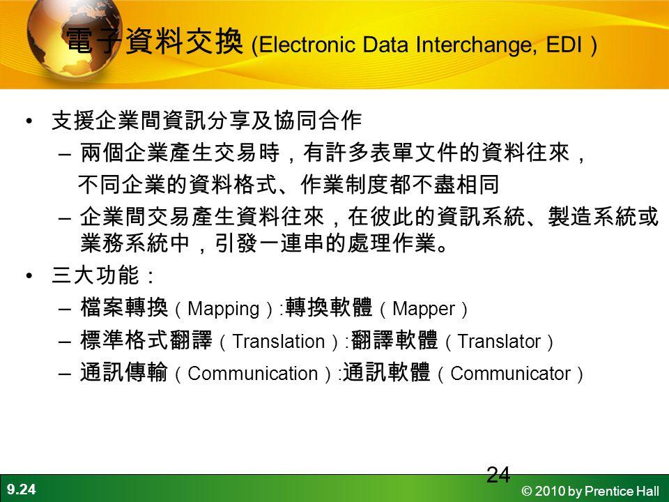 9.24 © 2010 by Prentice Hall 24 電子資料交換 (Electronic Data Interchange, EDI ) 支援企業間資訊分享及協同合作 – 兩個企業產生交易時,有許多表單文件的資料往來, 不同企業的資料格式、作業制度都不盡相同 – 企業間交易產生資料往來,