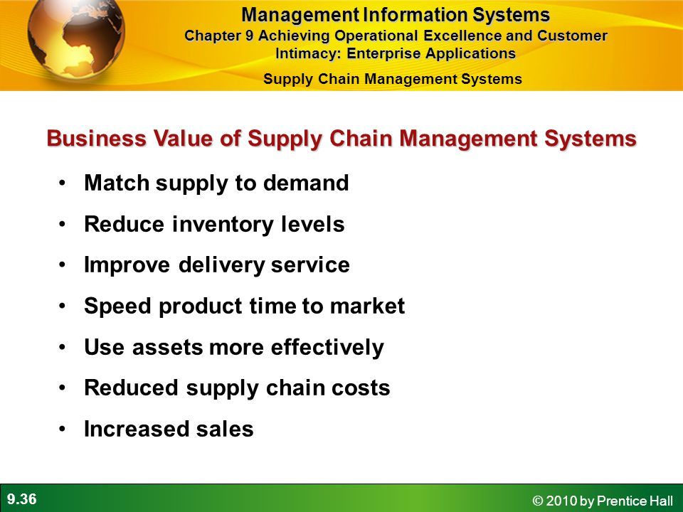 9.36 © 2010 by Prentice Hall Match supply to demand Reduce inventory levels Improve delivery service Speed product time to market Use assets more effe