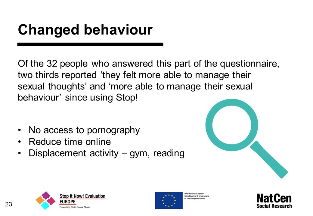 Changed behaviour Of the 32 people who answered this part of the questionnaire, two thirds reported 'they felt more able to manage their sexual thoughts' and 'more able to manage their sexual behaviour' since using Stop.