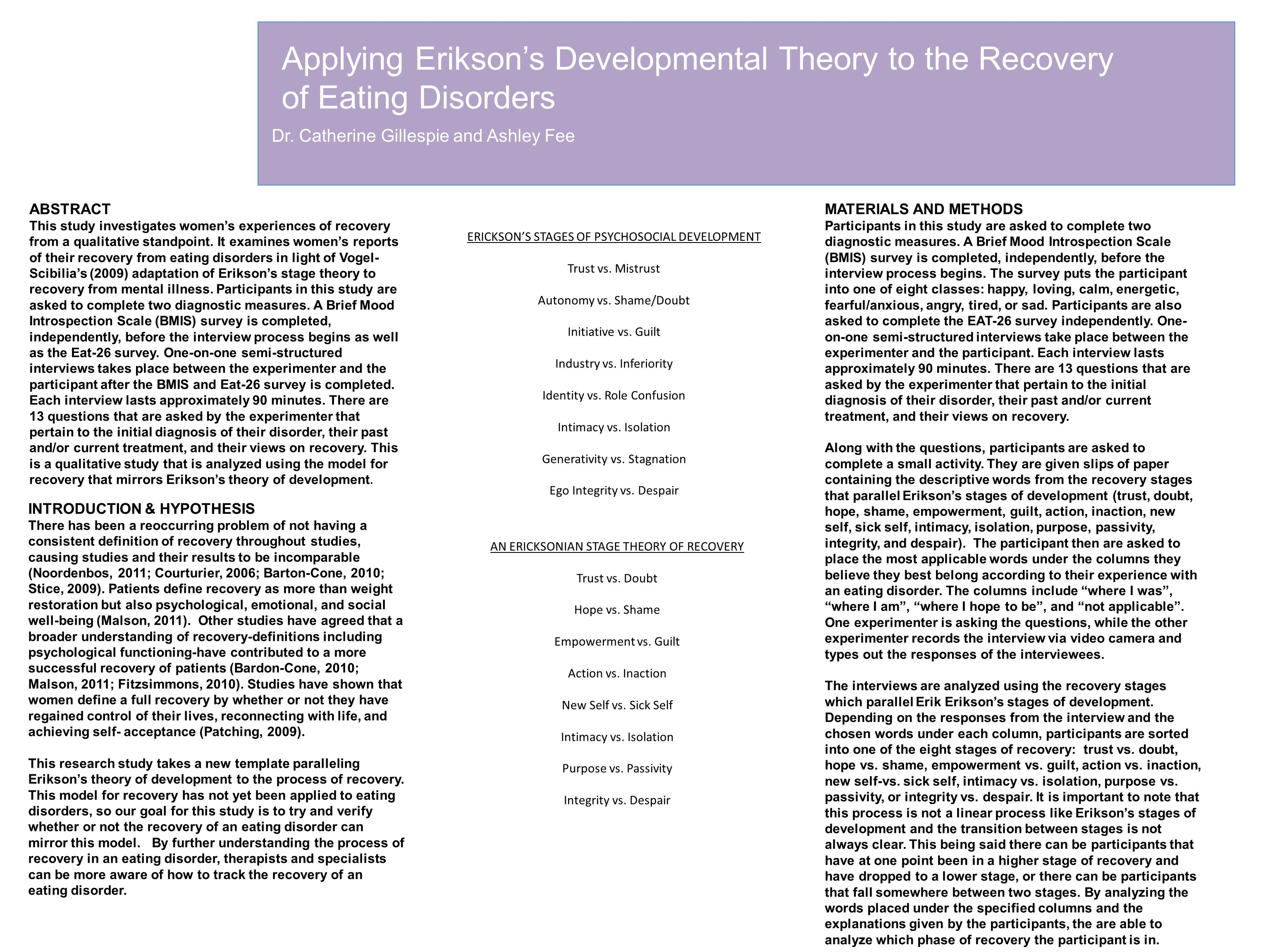 Applying Erikson's Developmental Theory to the Recovery of Eating Disorders Dr. Catherine Gillespie and Ashley Fee ABSTRACT This study investigates wo