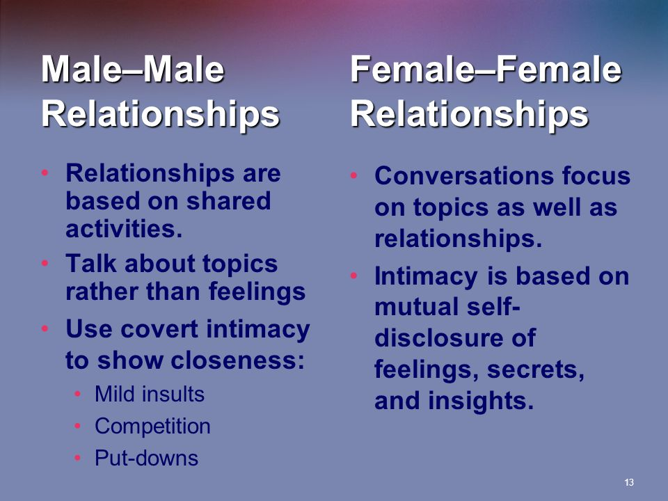 13 Relationships are based on shared activities.
