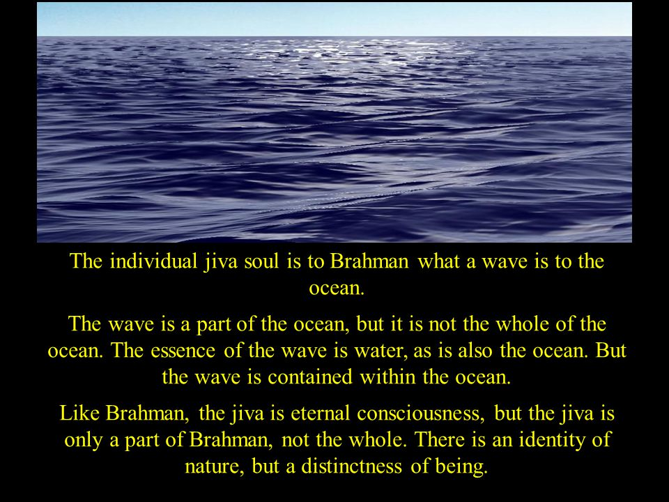 The individual jiva soul is to Brahman what a wave is to the ocean. The wave is a part of the ocean, but it is not the whole of the ocean. The essence