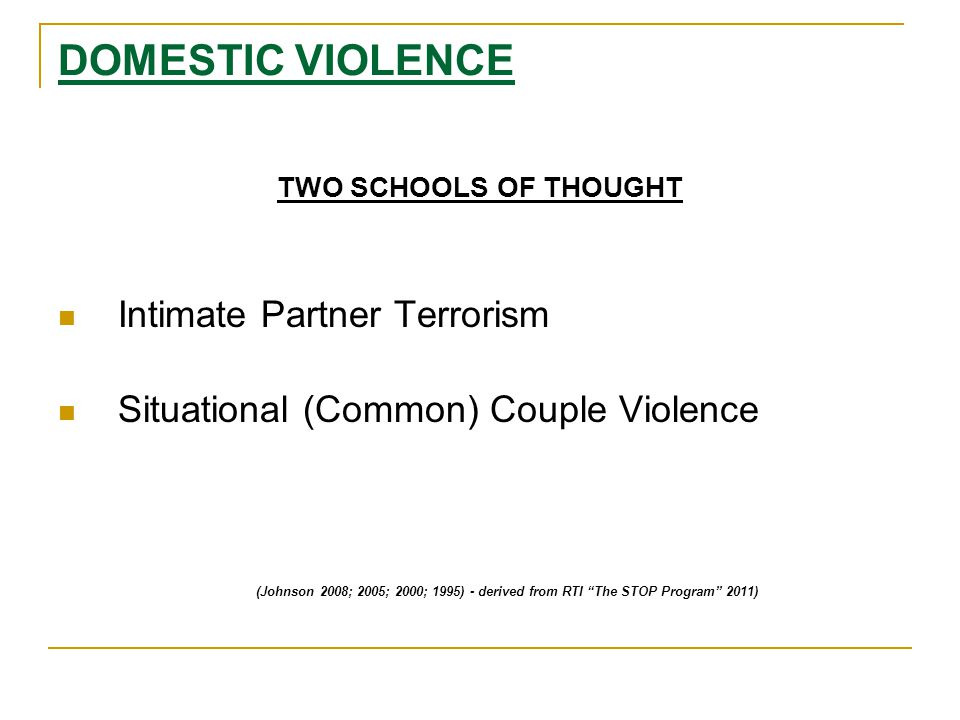 DOMESTIC VIOLENCE TWO SCHOOLS OF THOUGHT Intimate Partner Terrorism Situational (Common) Couple Violence (Johnson 2008; 2005; 2000; 1995) - derived from RTI The STOP Program 2011)