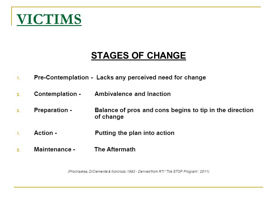 VICTIMS STAGES OF CHANGE 1. Pre-Contemplation - Lacks any perceived need for change 2.