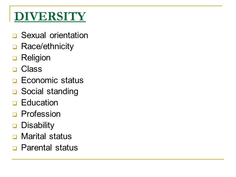 DIVERSITY  Sexual orientation  Race/ethnicity  Religion  Class  Economic status  Social standing  Education  Profession  Disability  Marital status  Parental status