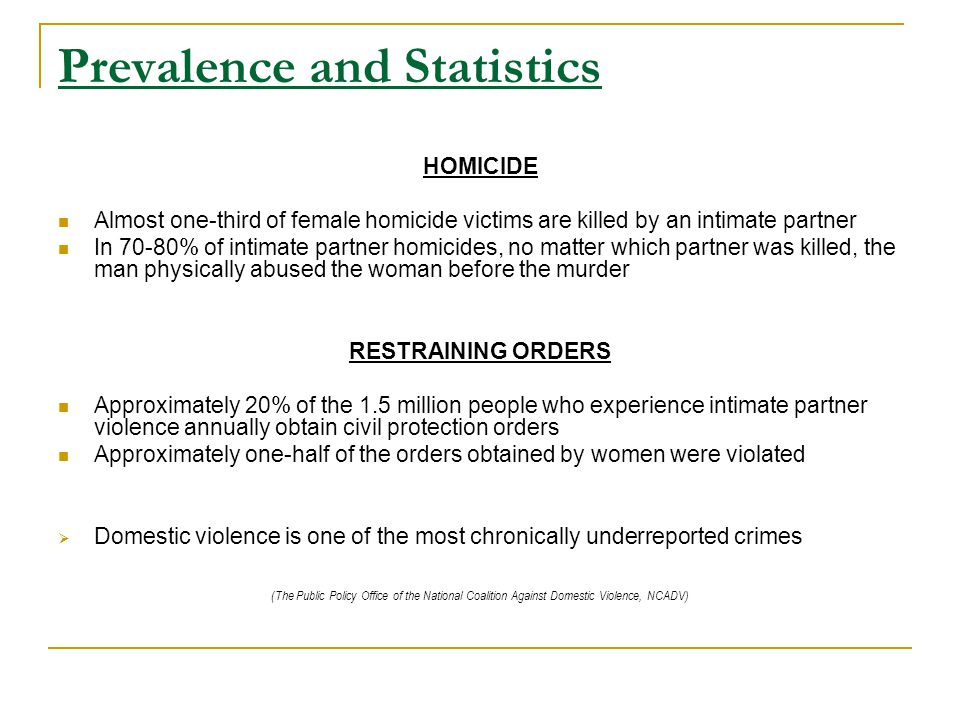 Prevalence and Statistics HOMICIDE Almost one-third of female homicide victims are killed by an intimate partner In 70-80% of intimate partner homicides, no matter which partner was killed, the man physically abused the woman before the murder RESTRAINING ORDERS Approximately 20% of the 1.5 million people who experience intimate partner violence annually obtain civil protection orders Approximately one-half of the orders obtained by women were violated  Domestic violence is one of the most chronically underreported crimes (The Public Policy Office of the National Coalition Against Domestic Violence, NCADV)