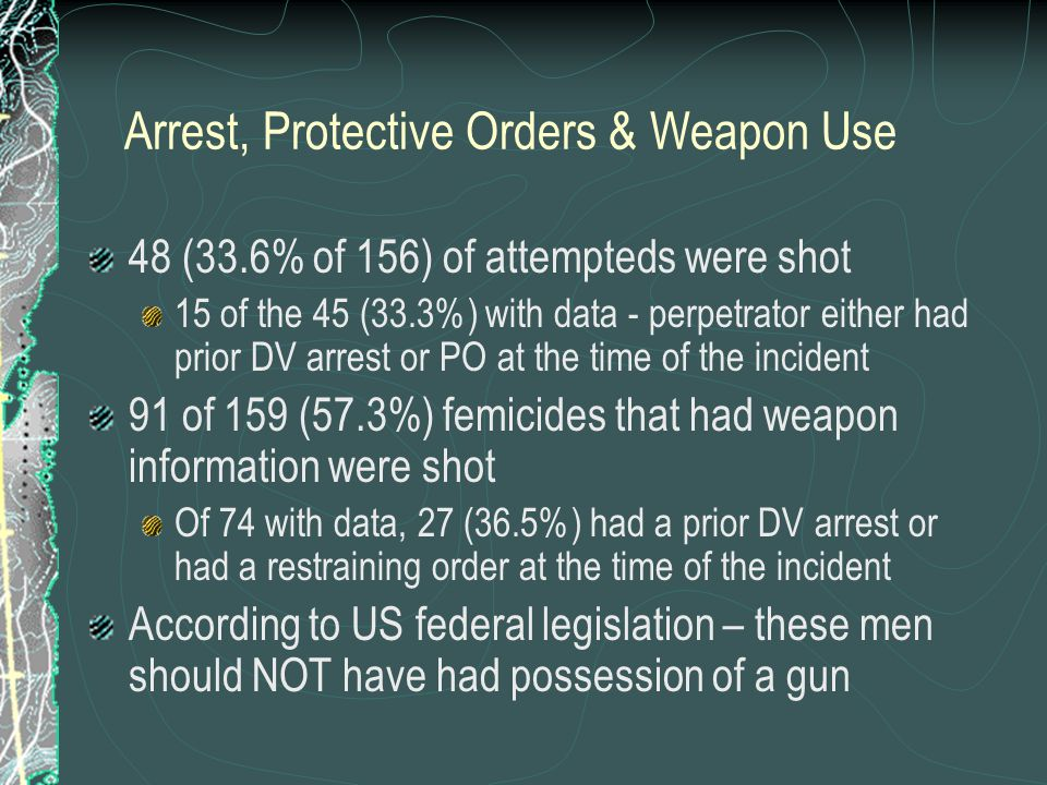 Arrest, Protective Orders & Weapon Use 48 (33.6% of 156) of attempteds were shot 15 of the 45 (33.3%) with data - perpetrator either had prior DV arrest or PO at the time of the incident 91 of 159 (57.3%) femicides that had weapon information were shot Of 74 with data, 27 (36.5%) had a prior DV arrest or had a restraining order at the time of the incident According to US federal legislation – these men should NOT have had possession of a gun