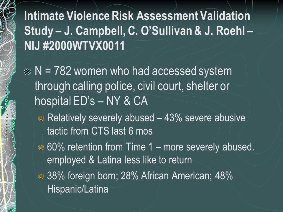 Intimate Violence Risk Assessment Validation Study – J.