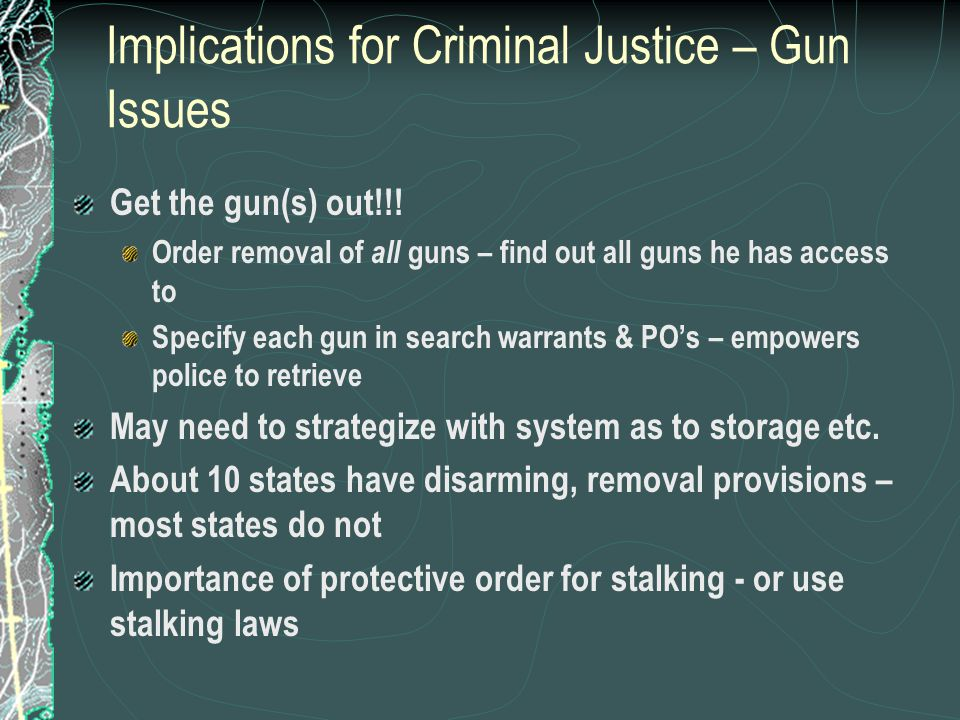 Implications for Criminal Justice – Gun Issues Get the gun(s) out!!.