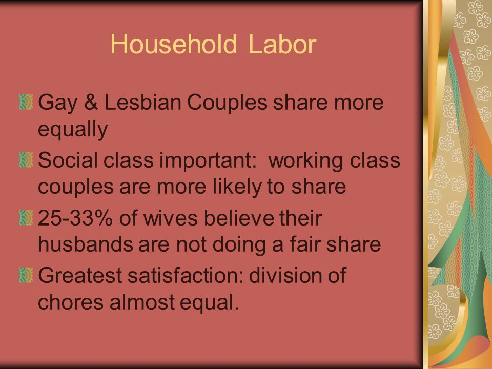 Household Labor Gay & Lesbian Couples share more equally Social class important: working class couples are more likely to share 25-33% of wives believe their husbands are not doing a fair share Greatest satisfaction: division of chores almost equal.