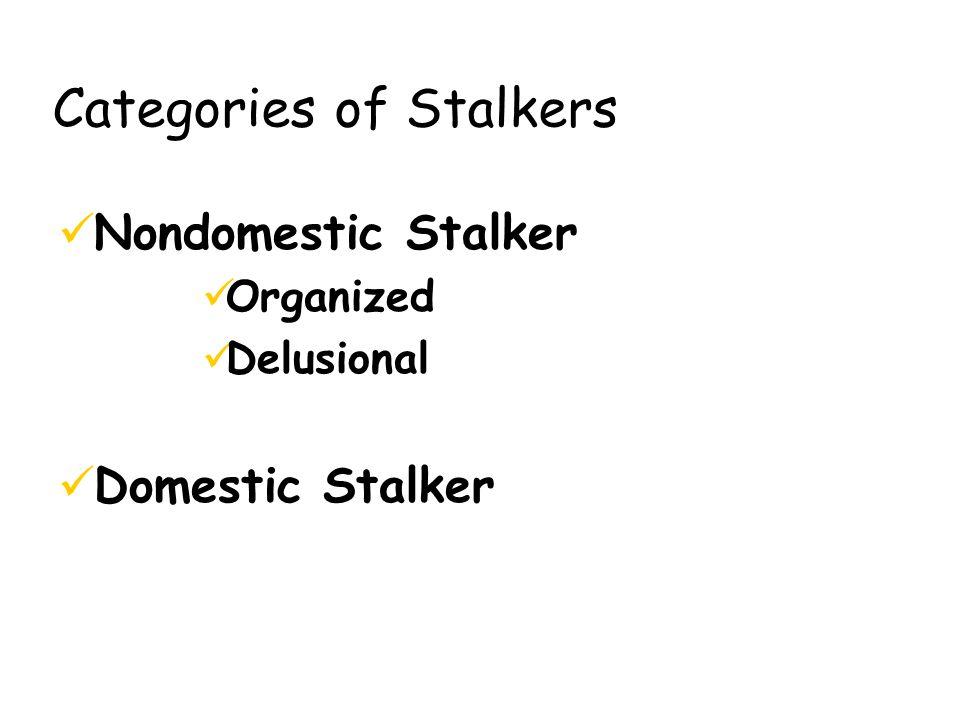 Categories of Stalkers Nondomestic Stalker Organized Delusional Domestic Stalker