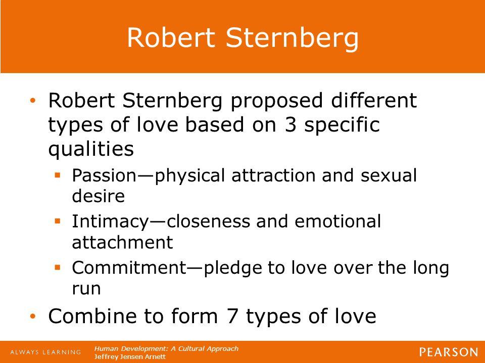 Human Development: A Cultural Approach Jeffrey Jensen Arnett Robert Sternberg Robert Sternberg proposed different types of love based on 3 specific qu