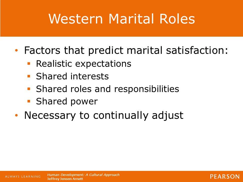 Human Development: A Cultural Approach Jeffrey Jensen Arnett Western Marital Roles Factors that predict marital satisfaction:  Realistic expectations