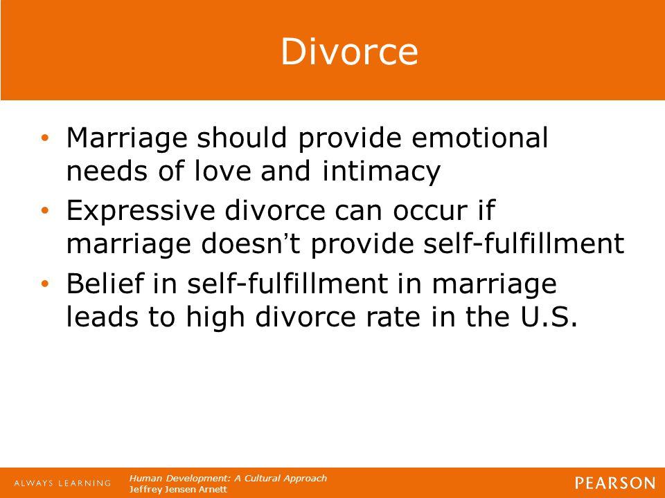 Human Development: A Cultural Approach Jeffrey Jensen Arnett Divorce Marriage should provide emotional needs of love and intimacy Expressive divorce c