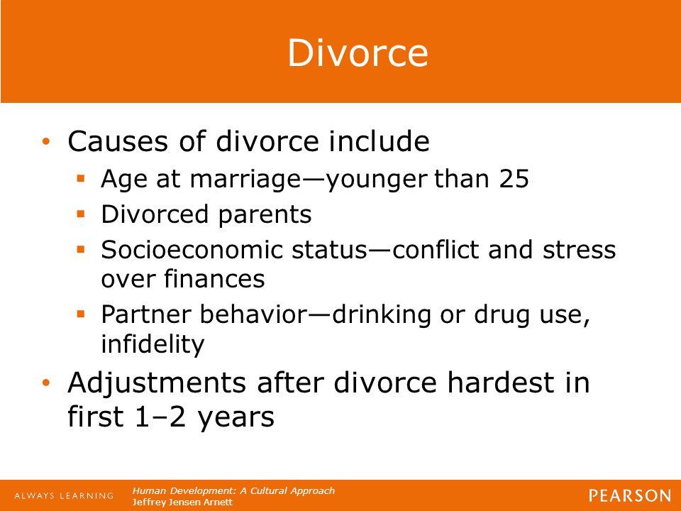 Human Development: A Cultural Approach Jeffrey Jensen Arnett Divorce Causes of divorce include  Age at marriage—younger than 25  Divorced parents 